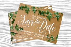 Save the Date Cardboard Ivy Postcard by Webgrrl | Lemonleafprints