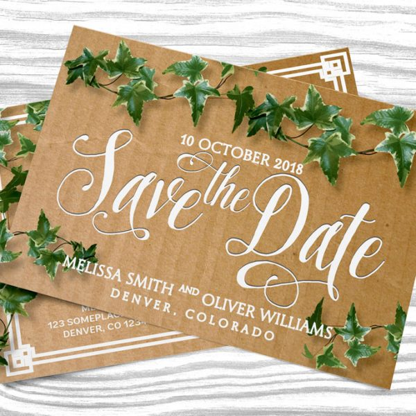 Save the Date Cardboard Ivy Postcard by Webgrrl | Lemonleafprints