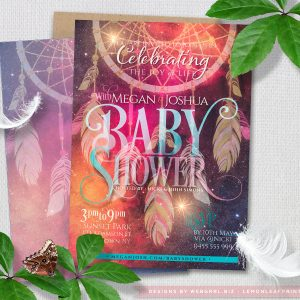 Bohemian Dreams  Flyer Style Dreamcatcher Baby Shower Invitations