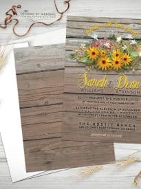 Rustic Timber sunflowers invitations - webgrrl - lemonleafprints - 5x7 flatcard