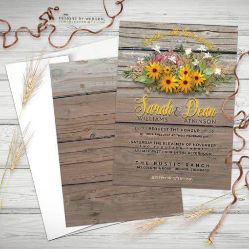 Rustic Timber sunflowers invitations - webgrrl - lemonleafprints - 5x7 flatcard