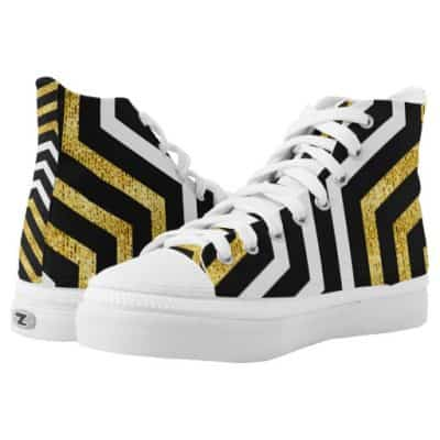 Abstract Chevron Glam High Top Printed Shoes