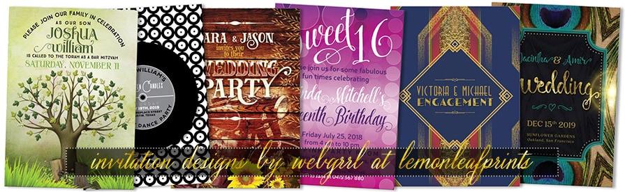 Newest 6 Graphics Mix Weddings + Birthday + Mitzvah Invitations