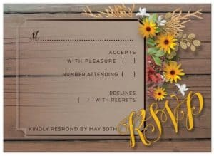 also available: Matching RSVP   Rustic Floral Wedding suite