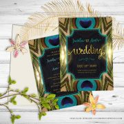 Peacock Wedding Invitation | Natural Love | Green Teal Gold