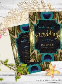 Peacock Wedding Invitation | Natural Love | Green Teal Gold