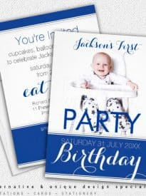 5x7 Photo Baby Boy Birthday Party Invitation