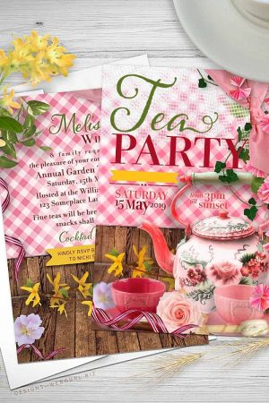 Whimsical Vintage Tea Party 5x7 Invitations