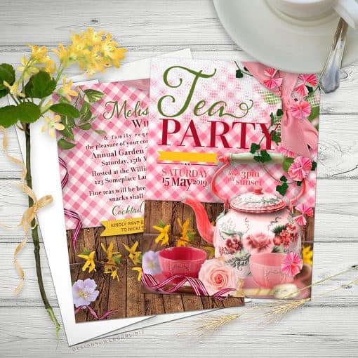 Whimsical Vintage Tea Party 5x7 Invitations