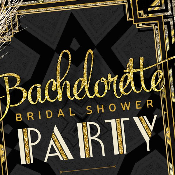 Close up view - Art Deco Bachelorette Bridal Shower | Black and Gold Invitation