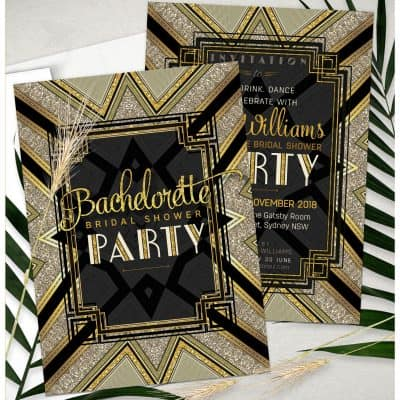 Art Deco Bachelorette Bridal Shower | Black and Gold Invations