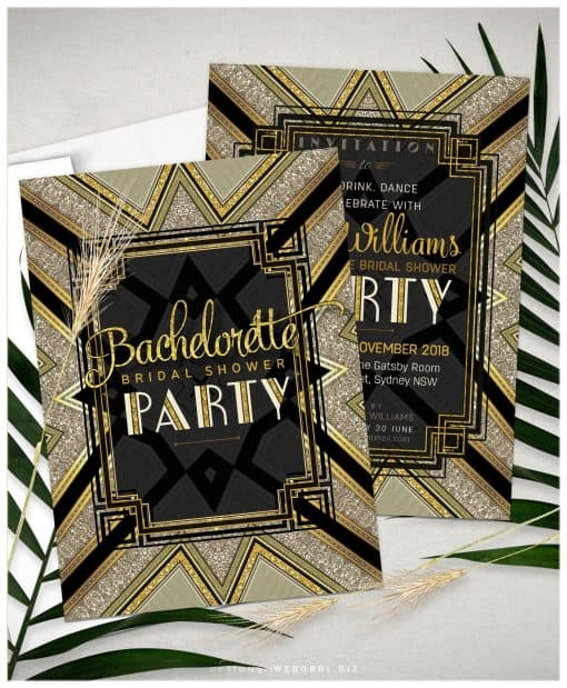 Art Deco Bachelorette Bridal Shower | Black and Gold Invations