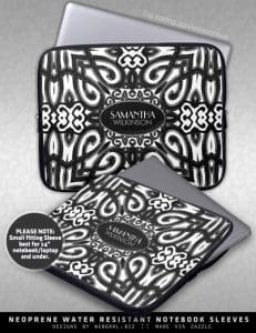 Amoria • Black & White Decorative ornate design Laptop Sleeve
