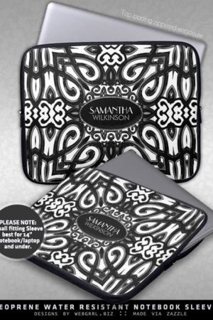 Amoria • Black & White Decorative ornate design Laptop Sleeve