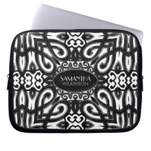 Amoria • Black & White Decorative ornate design Laptop Sleeve | Electronika