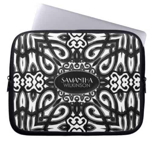 Amoria • Black & White Decorative ornate design Laptop Sleeve | Electronika