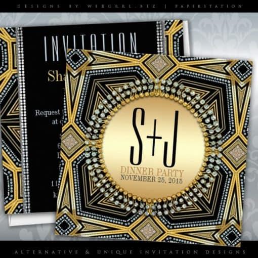 Art Deco Geometric Gold Dinner Party   Customizable Printed Invitations