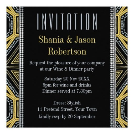Art Deco Geometric Gold Dinner Party   Invitations (back view)