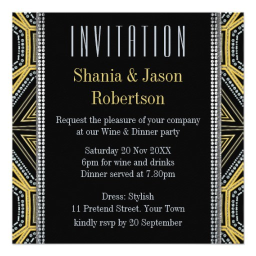 Art Deco Geometric Gold Dinner Party | Invitations (back view)