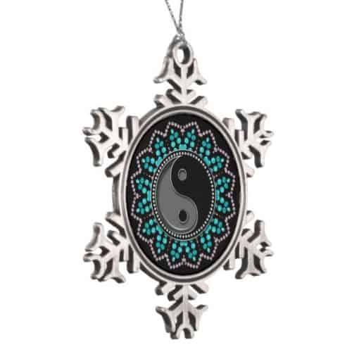 New Age Sparkle Snowflake Pewter Hanging Ornament | left view