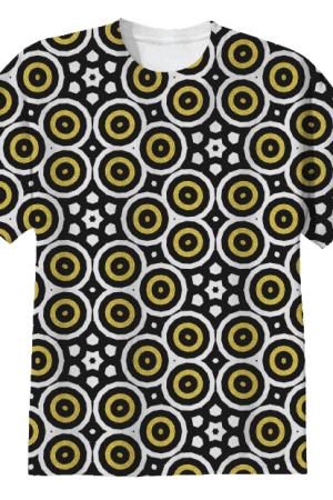 black-white-gold-circles-tshirt-by webgrrl.biz
