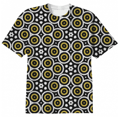 black-white-gold-circles-tshirt-by webgrrl.biz