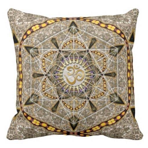 Bohemian Yoga Gold Om Geometry Art Big Cushion Pillow design by Webgrrl