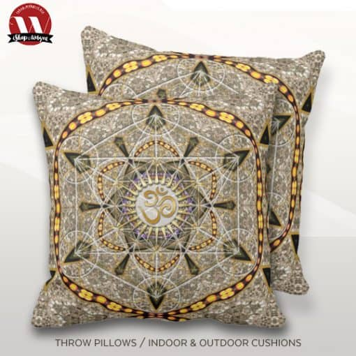 Bohemian Yoga Gold Om Geometry Art Big Cushion Pillow design by Webgrrl.biz