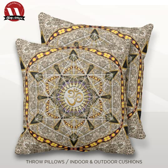 Bohemian Yoga Gold Om Geometry Art Big Cushion Pillow design by Webgrrl.biz
