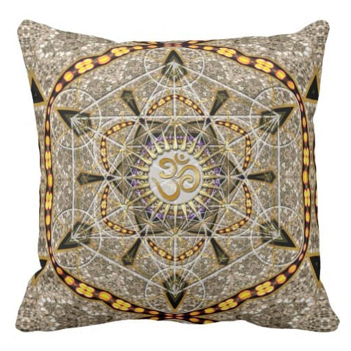Bohemian Yoga Gold Om Geometry Art Big Cushion Pillow design by Webgrrl