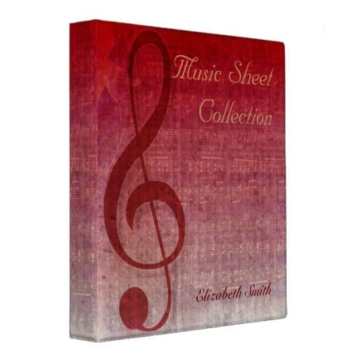 Cherry Red Clef Music Sheet Collection Binder (front & side view) | Webgrrl