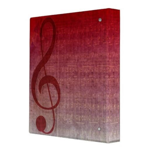 Cherry Red Clef Music Sheet Collection Binder (back view) | Webgrrl