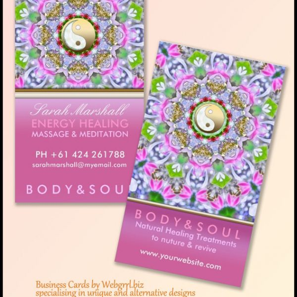 Energy Healing Holistic Pink Sparkle Business Card