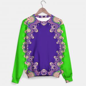 Funky Purple Green Fractal Lace Sweater