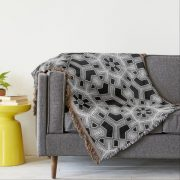 Gray Black+White Geometric Hexagon Pattern Throw Blanket