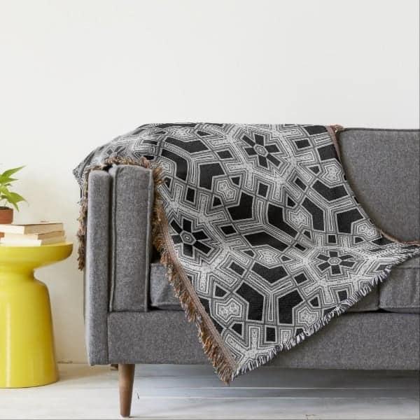 Gray Black+White Geometric Hexagon Pattern Throw Blanket