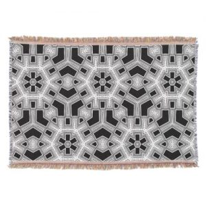 Gray Black+White Geometric Pattern NoColor #9 Throw Blanket