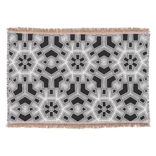 Gray Black+White Geometric Pattern NoColor #9 Throw Blanket