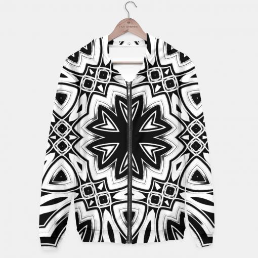 Maya 1- Black White Silver Hexagon Pattern Hoodie by Webgrrl
