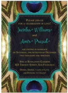 Peacock Wedding Invitation   Natural Love   Green Teal Gold