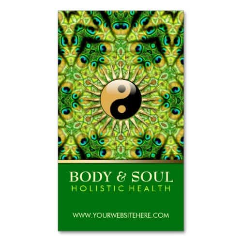 Peacock Geometry YinYang New Age Business Card