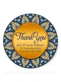 Rustic Navy Blue Gold Sunflower Thank You Sticker