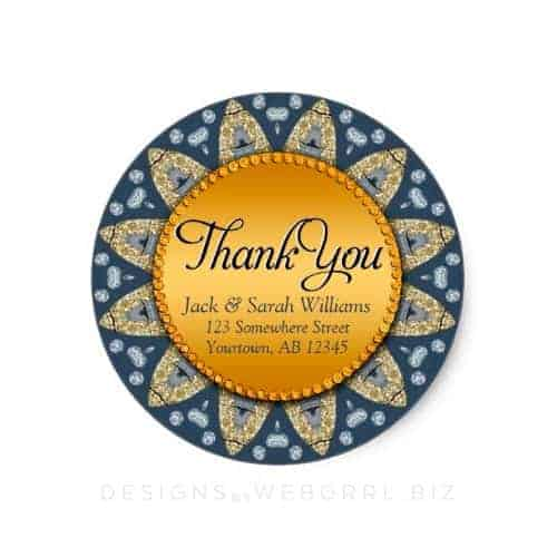Rustic Navy Blue Gold Sunflower Thank You Stickers By