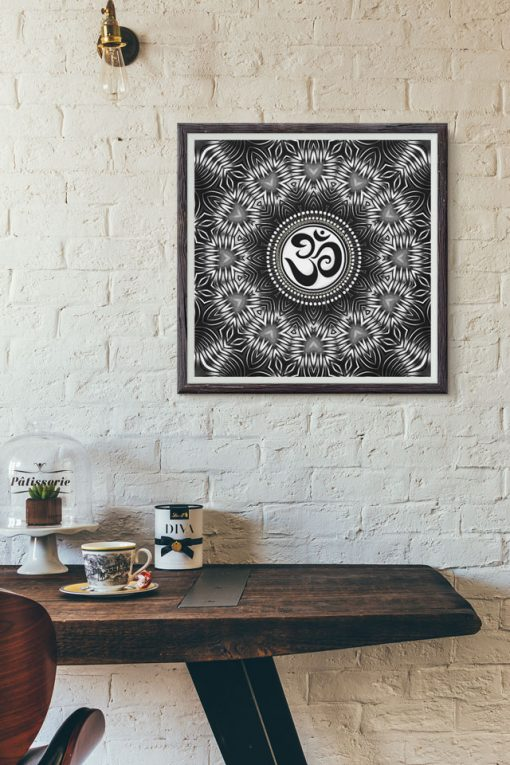 Silver Black Om Sign Love Mandala by Webgrrl