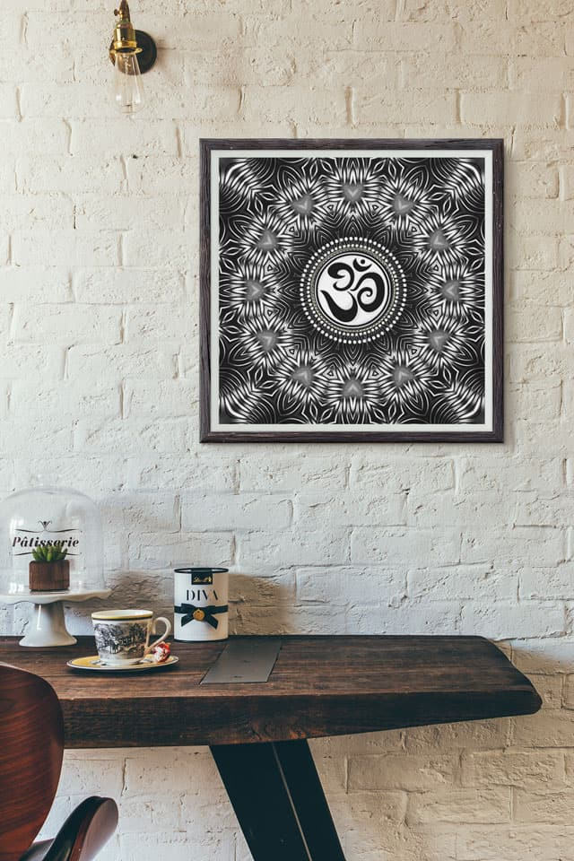 Silver Black Om Sign Love Mandala by Webgrrl