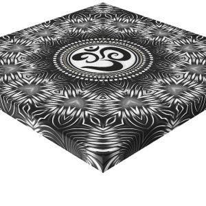 Silver Black Om Sign Love Mandala New Age Canvas