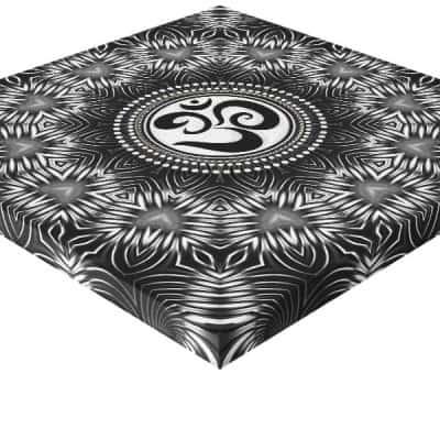 Silver Black Om Sign Love Mandala New Age Canvas