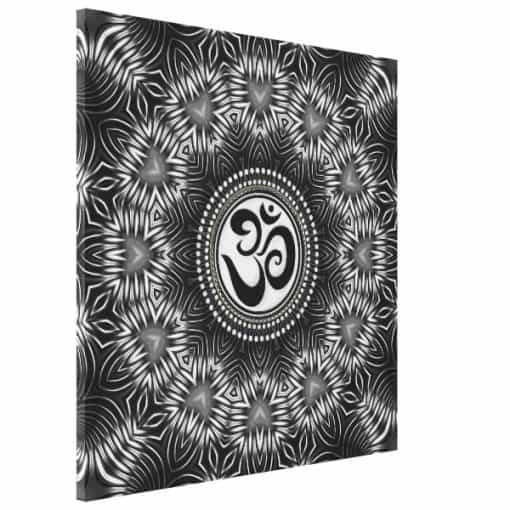 Silver Black Om Sign Love Mandala Wrapped Canvas