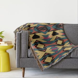 Warm Teal Earth Aztec Desert Gold Shimmer Throw by webgrrl