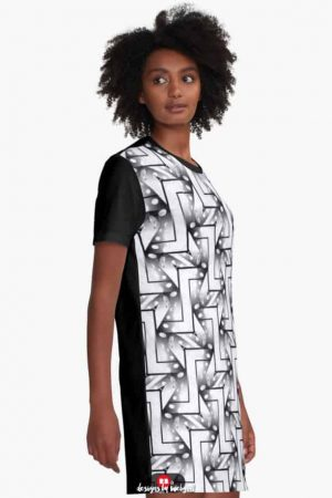 2-Tones Black White Patterns #4 | Graphic T Shirt Dress
